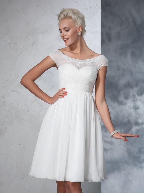 Ivory Sheer Neck Chiffon Knee-Length Wedding Dresses