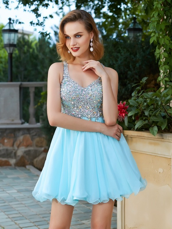 Straps Short/Mini Light Sky Blue Homecoming Dresses with Rhinestone