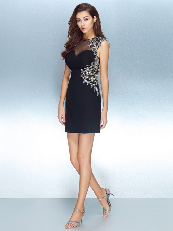 Sheath Jewel Short Dark Navy Homecoming Dresses with Crystal
