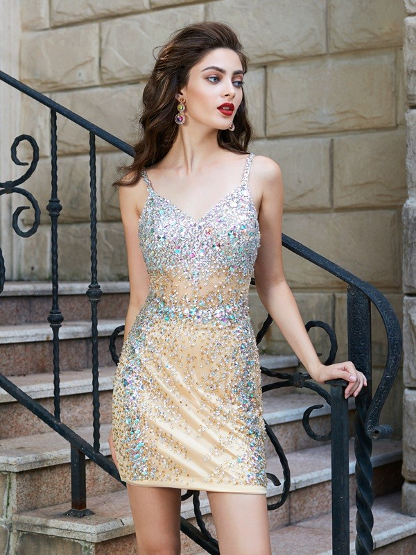 Short Gold Spaghetti Straps Homecoming Dresses with Sequin