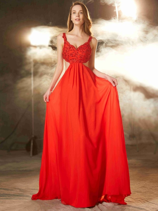 Red Straps Chiffon Sweep/Brush Train Prom Dresses