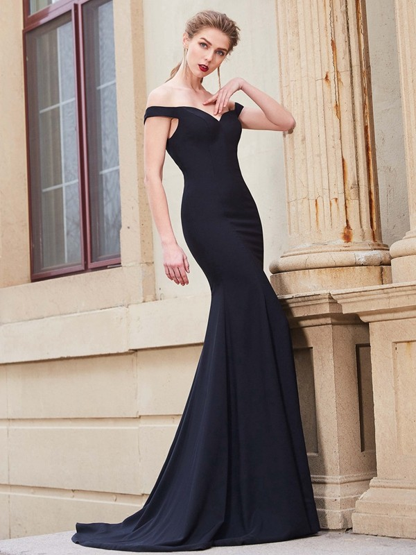 Mermaid Satin Off-the-Shoulder Brush Train Prom Dresses with Ruffles