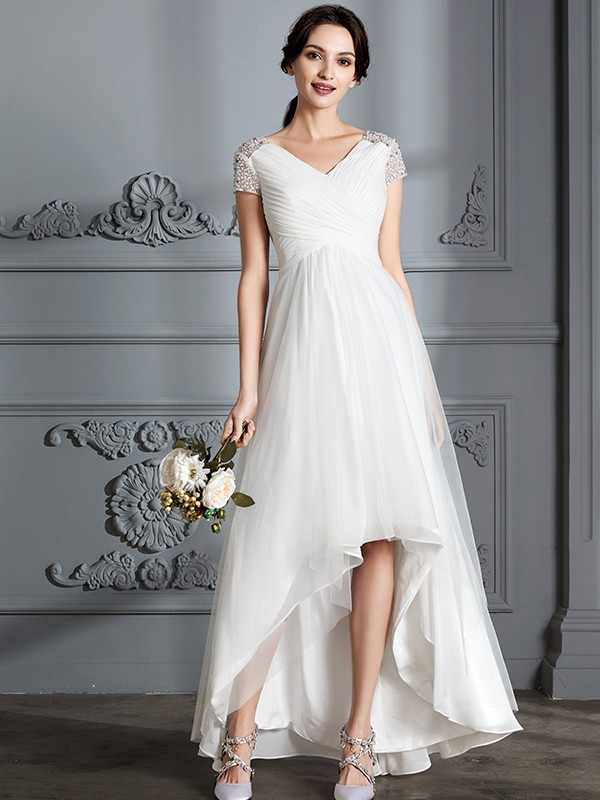 A-Line Tulle Short Sleeves V-neck Asymmetrical Ivory Wedding Dresses