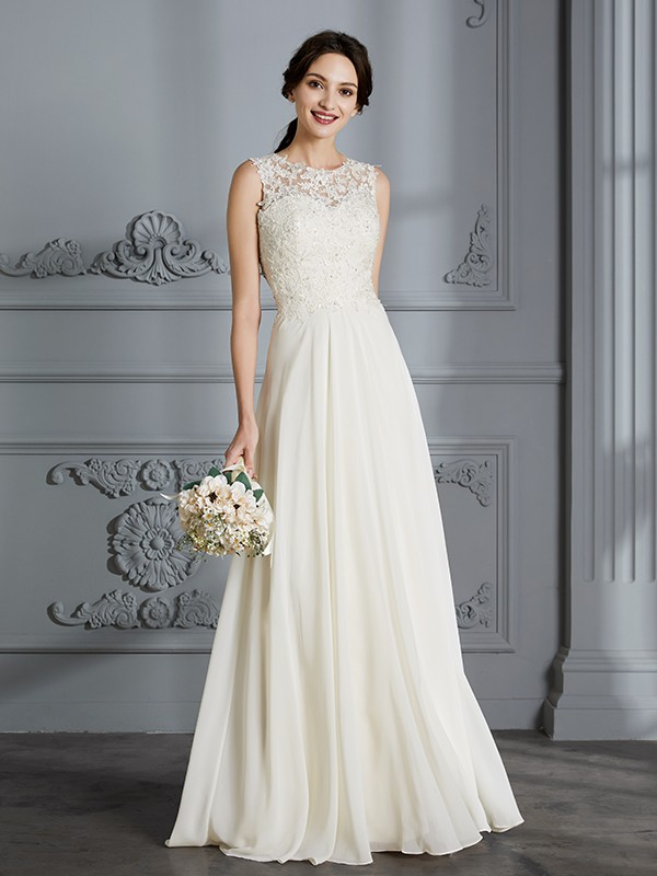 A-Line Chiffon Scoop Floor-Length Ivory Wedding Dresses