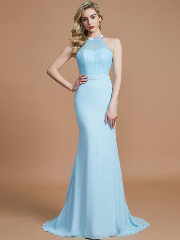 Brush Train Light Sky Blue Scoop Bridesmaid Dresses