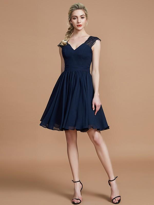 A-Line V-neck Knee-Length Dark Navy Bridesmaid Dresses