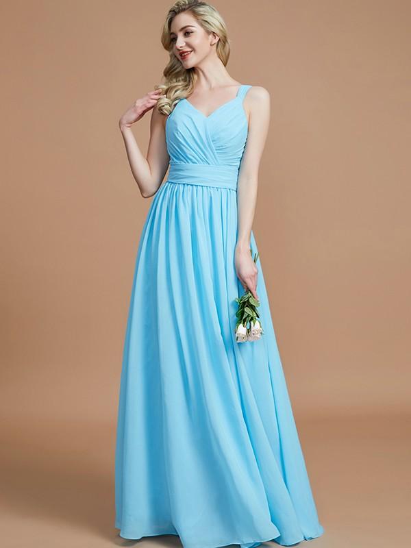 Light Sky Blue A-Line V-neck Floor-Length Bridesmaid Dresses
