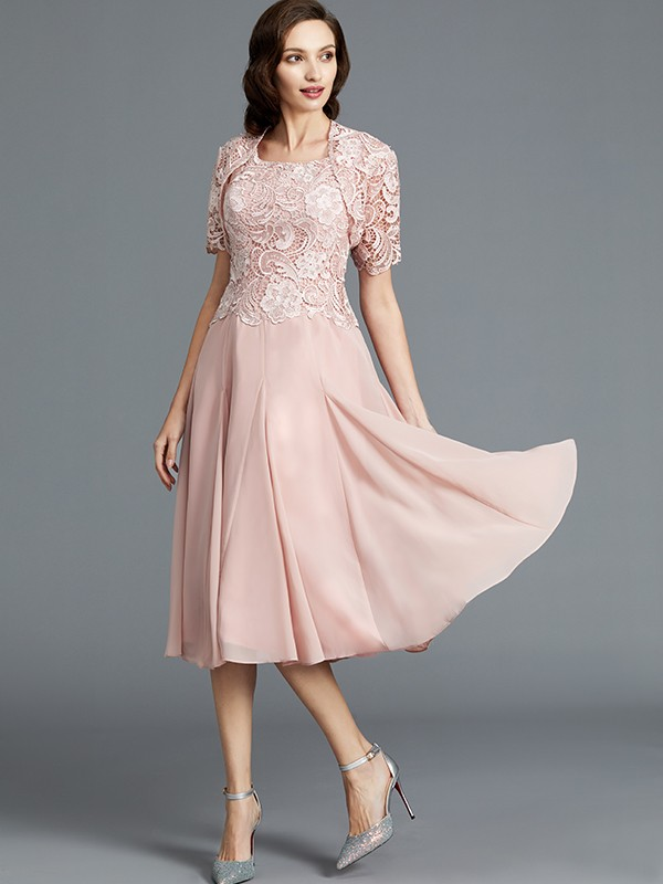 A-Line Chiffon Scoop Tea-Length Pink Mother of the Bride Dresses