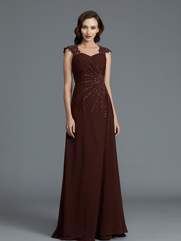 Chocolate Sweetheart Chiffon Floor-Length Mother of the Bride Dresses