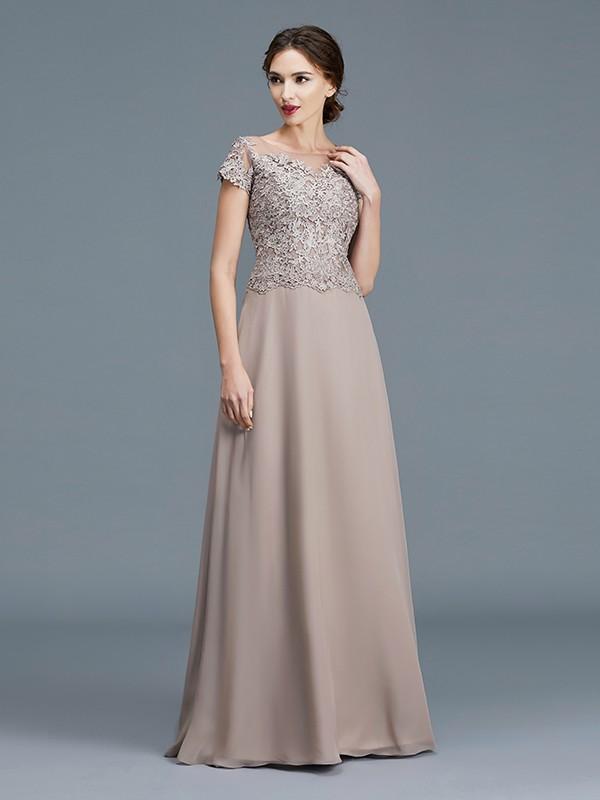 Grey Scoop Chiffon Floor-Length Mother of the Bride Dresses