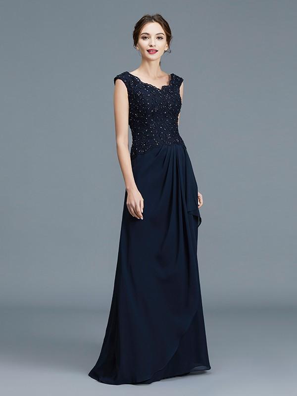 A-Line V-neck Floor-Length Dark Navy Mother of the Bride Dresses