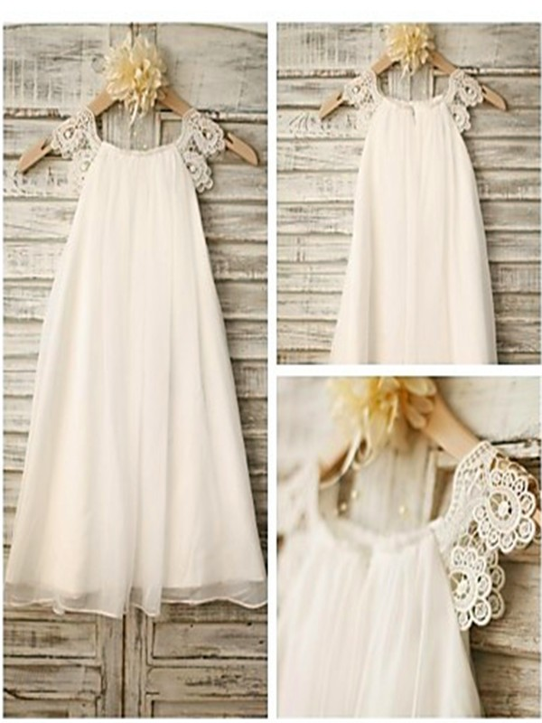 A-Line Chiffon Scoop Tea-Length White Flower Girl Dresses