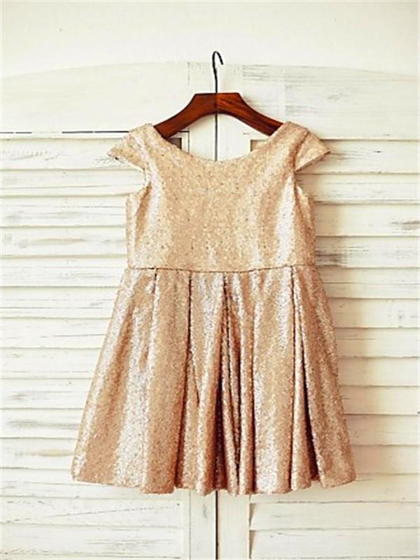 A-line/Princess Scoop Short Sleeves Tea-Length Sequins Flower Girl Dresses