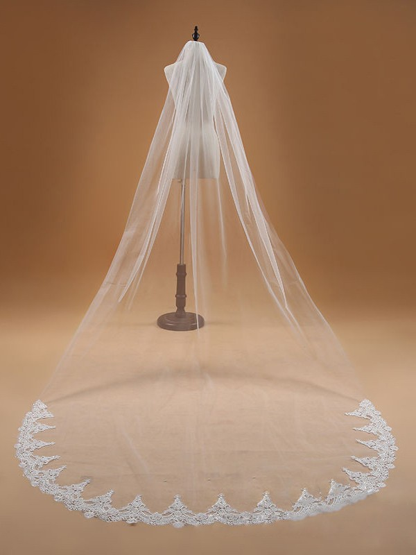 Elegant Tulle With Lace Wedding Veils