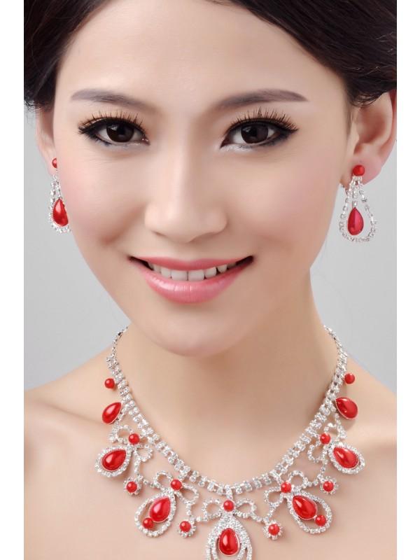 Glamorous Alloy Wedding Necklaces Earrings Set