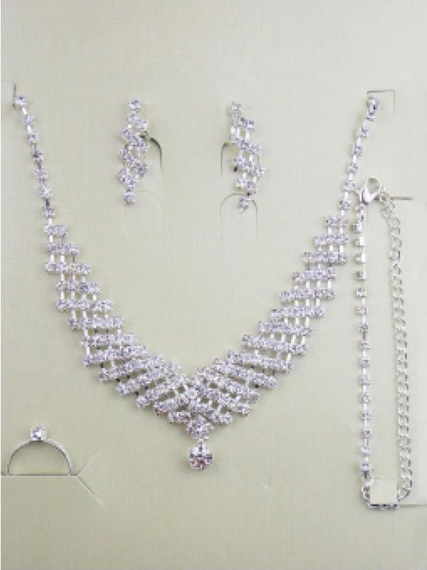 Gorgeous Alloy With Rhinestones Wedding Bridal Jewelry Set