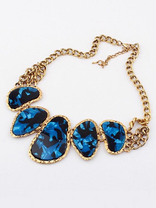 Occident Retro Hyperbolic Colored stones New Stylish Fashion Necklace