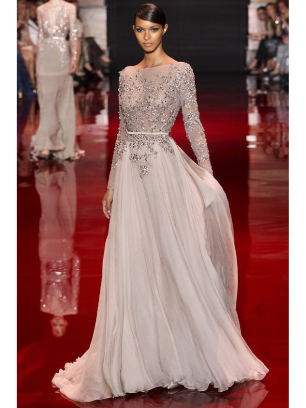 A-Line Long Sleeves High Neck Brush Train Grey Prom Dresses