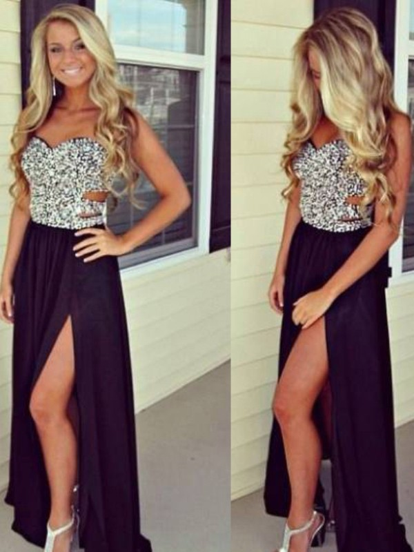 A-Line Chiffon Sweetheart Floor-Length Black Prom Dresses