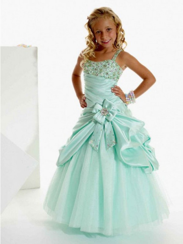 A-Line Straps Long Sage Flower Girl Dresses with Beading