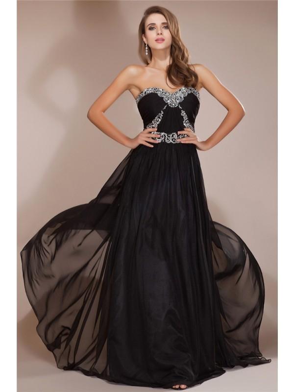 Chiffon Sweetheart Brush Train Black Prom Dresses