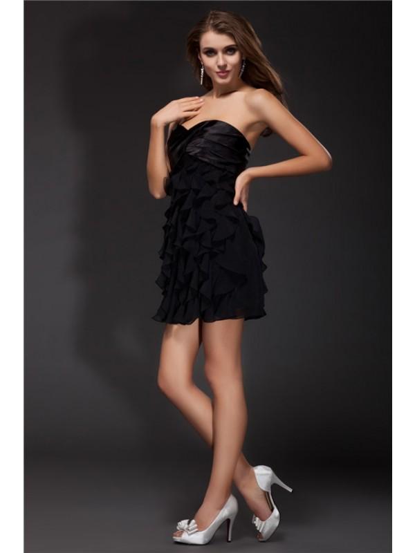 Black Sheath Sweetheart Short/Mini Homecoming Dresses with Ruffles