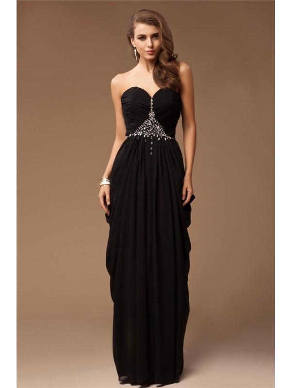 Chiffon Sheath Floor-Length Sweetheart Black Prom Dresses