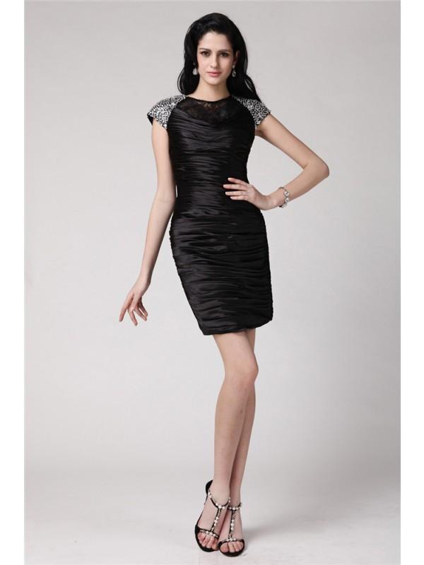 Short Sleeves Sheath Scoop Short/Mini Black Homecoming Dresses