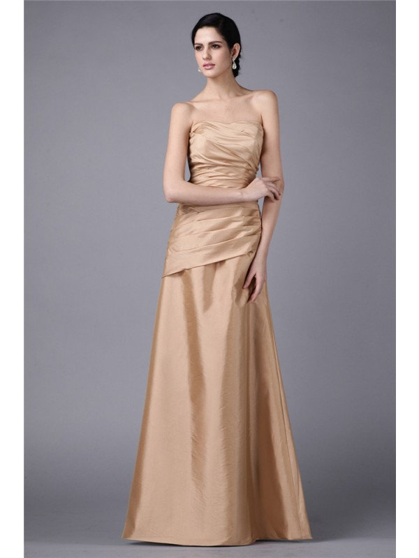 Strapless Floor-Length Gold Prom Dresses with Pleats
