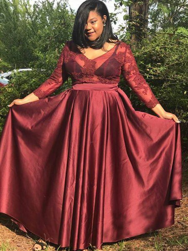 3/4 Sleeves V-neck Floor-Length Burgundy Prom Dresses with Applique