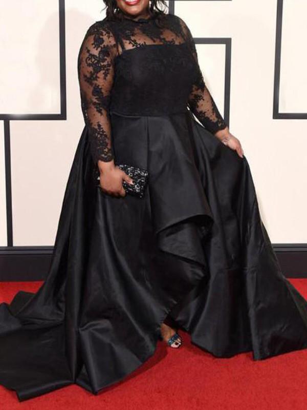 Black Sheer Neck Satin Asymmetrical Prom Dresses