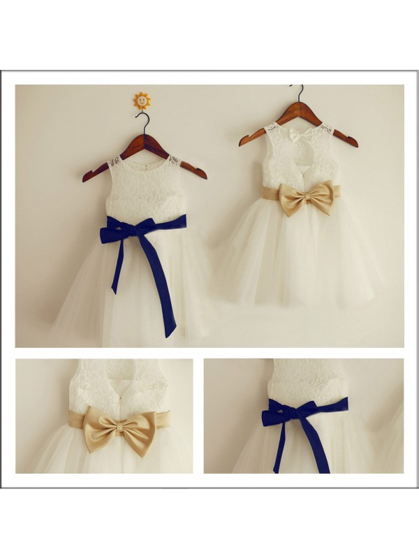 Ivory A-Line Scoop Long Flower Girl Dresses with Bowknot