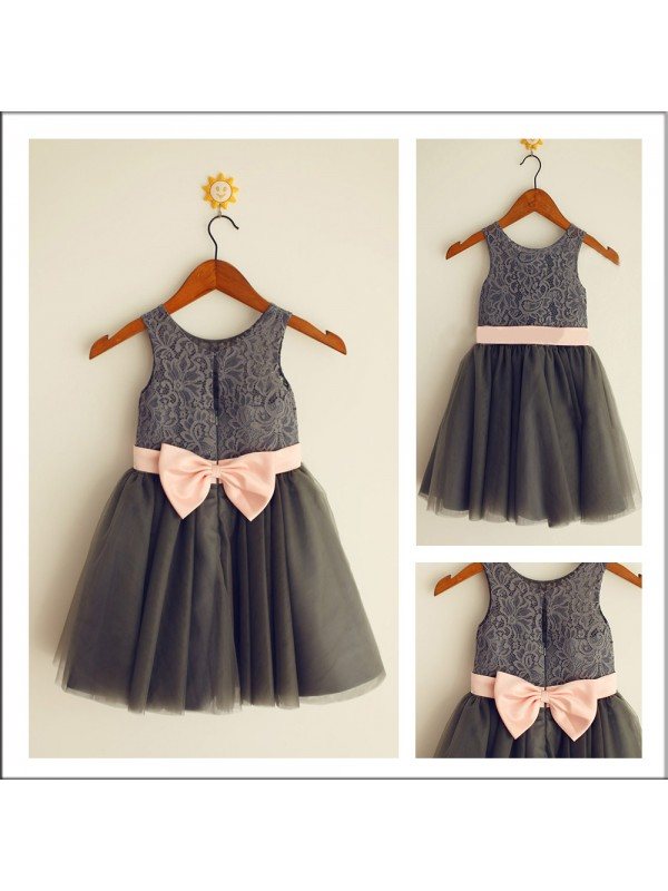 Long Hunter Green Scoop Flower Girl Dresses with Bowknot