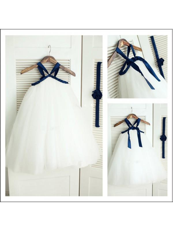 A-Line Tulle Spaghetti Straps Long White Flower Girl Dresses