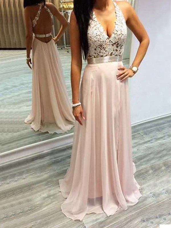 Pearl Pink A-Line Halter Brush Train Prom Dresses with Lace