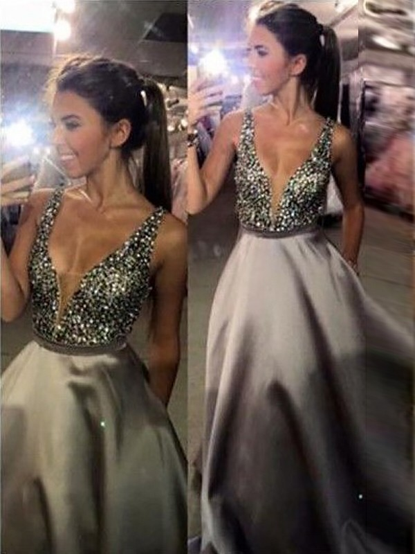 A-Line V-neck Brush Train Silver Prom Dresses with Beading