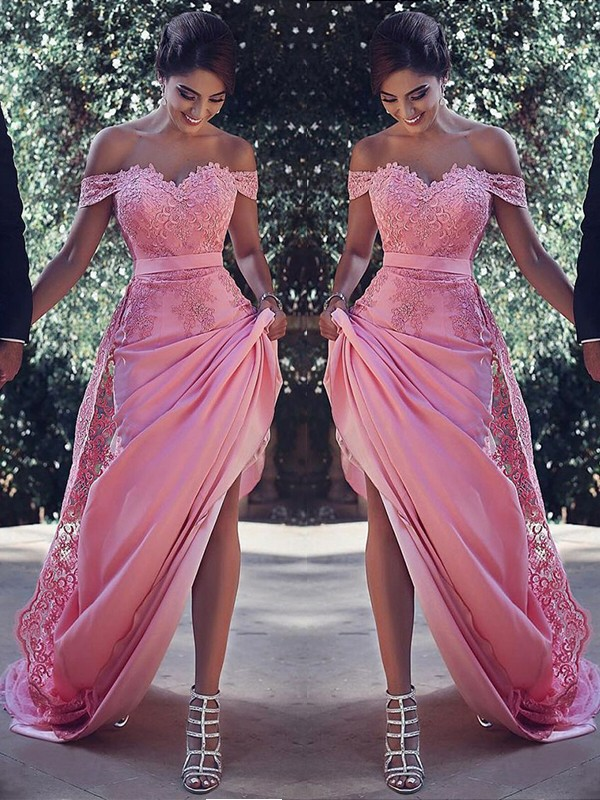 Pink Off-the-Shoulder Silk like Satin Brush Train Prom Dresses
