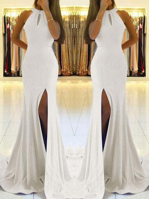 Ivory Sheath Halter Brush Train Prom Dresses with Ruffles