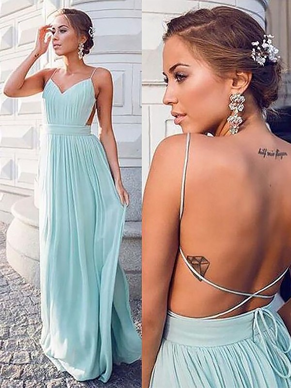 Spaghetti Straps Floor-Length Green Prom Dresses with Ruched