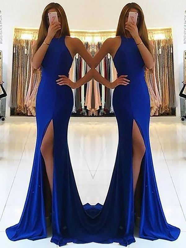 Sheath Halter Brush Train Royal Blue Prom Dresses with Ruffles