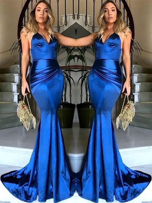 Satin Sheath Brush Train V-neck Royal Blue Prom Dresses