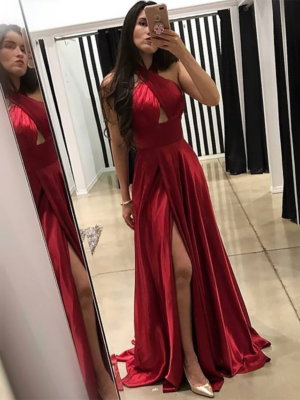 A-Line Halter Brush Train Red Prom Dresses with Ruffles