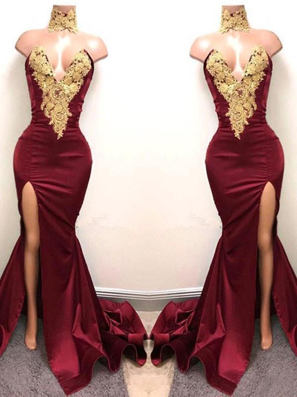 Burgundy Mermaid Sweetheart Brush Train Prom Dresses with Applique