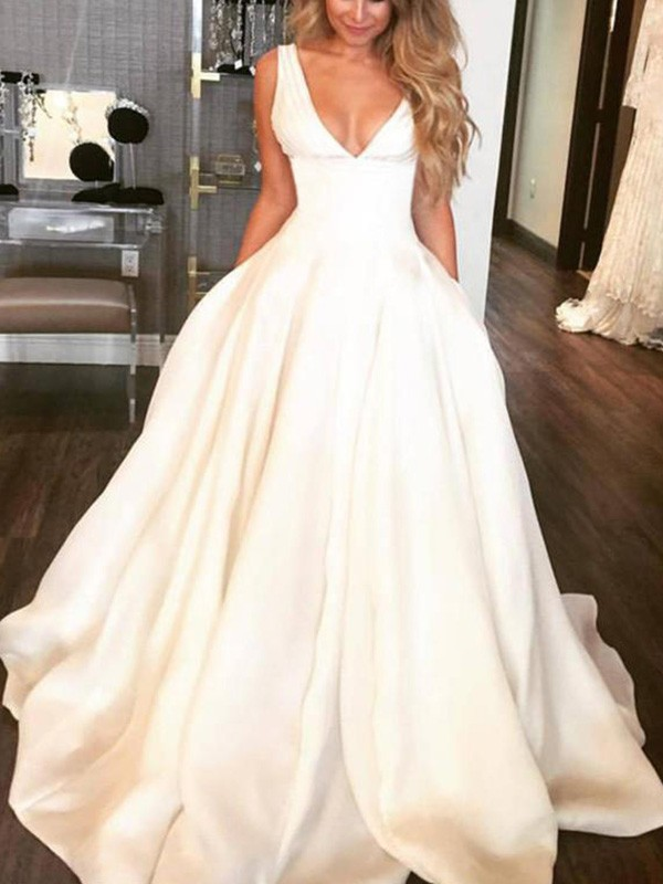 Satin V-neck Brush Train Ivory Wedding Dresses