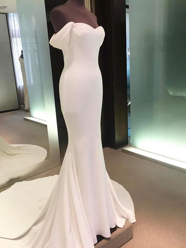 Spandex Short Sleeves Off-the-Shoulder Court Train Ivory Wedding Dresses