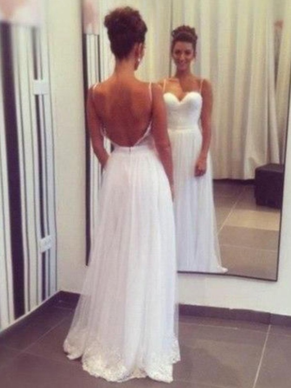 Tulle A-Line Floor-Length Sweetheart White Wedding Dresses