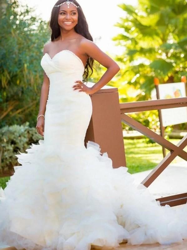 Mermaid Sweetheart Court Train White Wedding Dresses