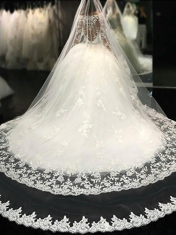 Tulle Scoop Cathedral Train Ivory Wedding Dresses