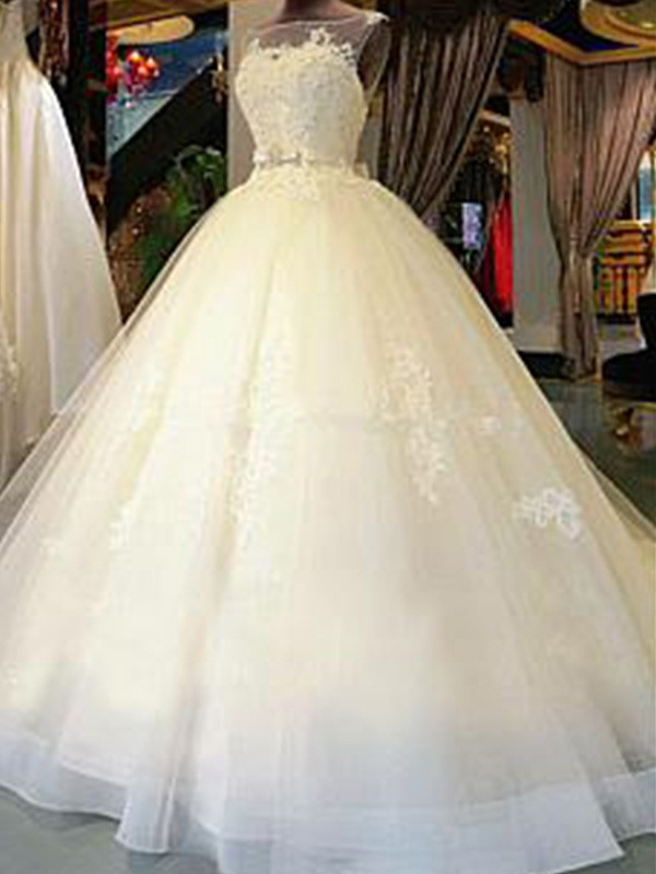 Ball Gown Scoop Cathedral Train White Wedding Dresses with Applique