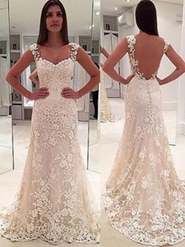 Lace Sweetheart Court Train Ivory Wedding Dresses